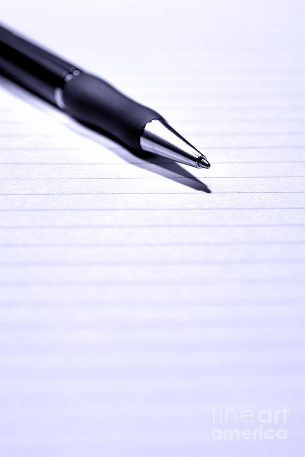 Pen Photograph - Pen On Paper by Olivier Le Queinec