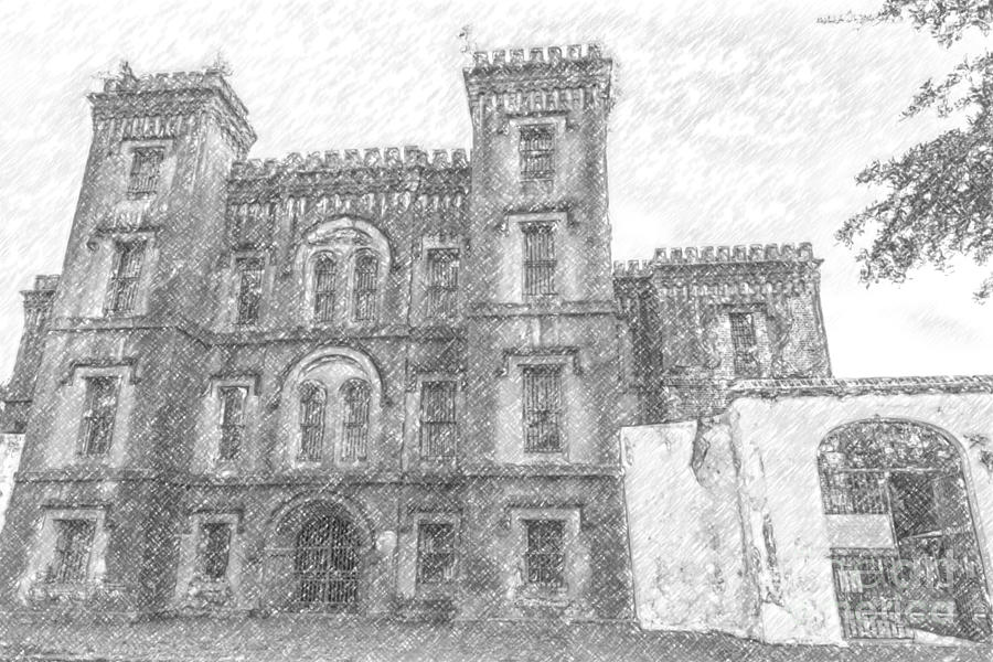 Pencil Drawing Of Old Jail Drawing
