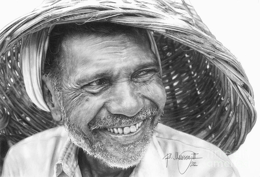 Pencil Drawing Old India Man Drawing  - Pencil Drawing Old India Man Fine Art Print