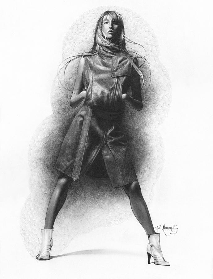 Pencil Drawing Woman In Leather Dress Drawing