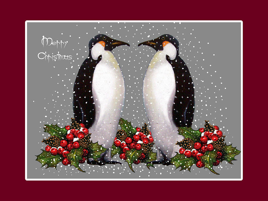 Penguin Couple Christmas Card Pastel  - Penguin Couple Christmas Card Fine Art Print