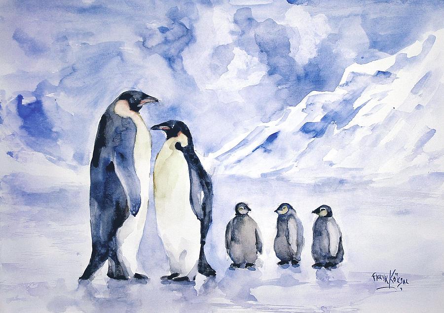 Penguin Painting - Penguin Family by Faruk Koksal