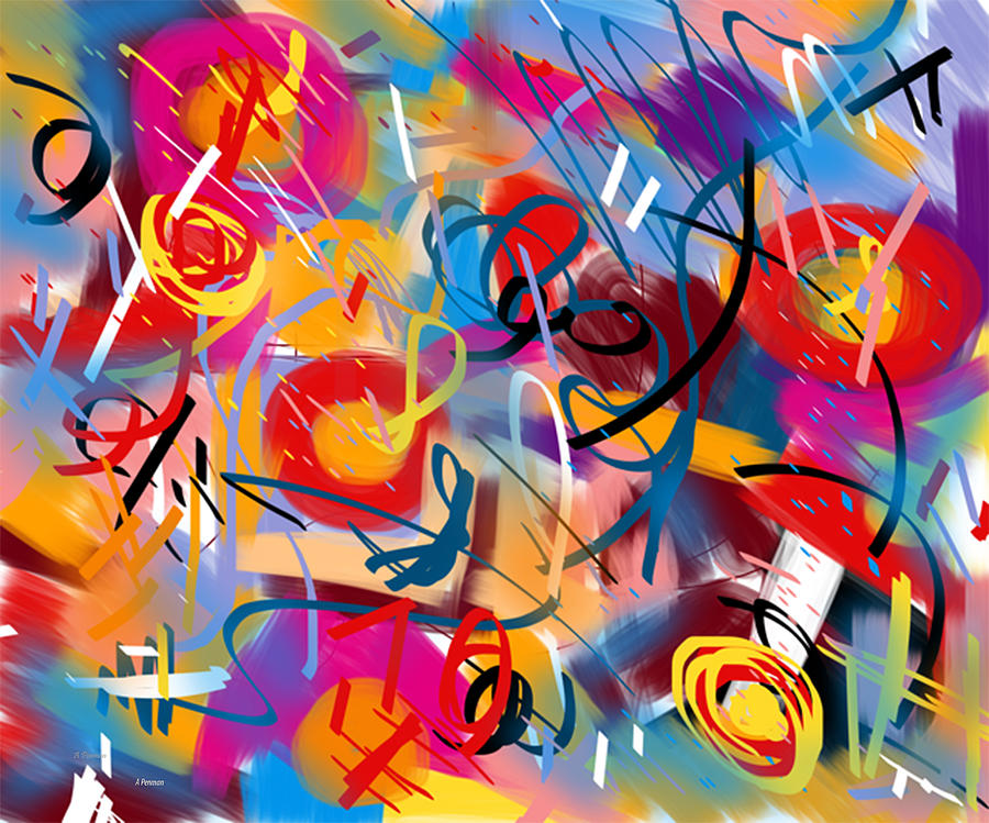 Penman Abstract Series 8 Carnival Digital Art  - Penman Abstract Series 8 Carnival Fine Art Print