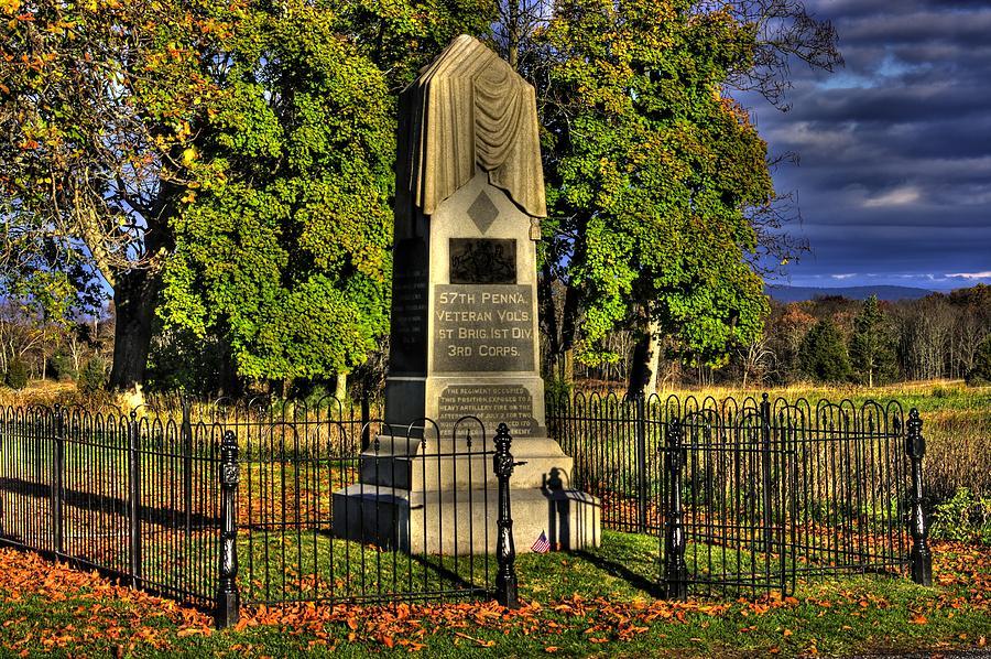 Pennsylvania At Gettysburg - 57th Pa Veteran Volunteer Infantry Sunrise Autumn Steinwehr Avenue Photograph