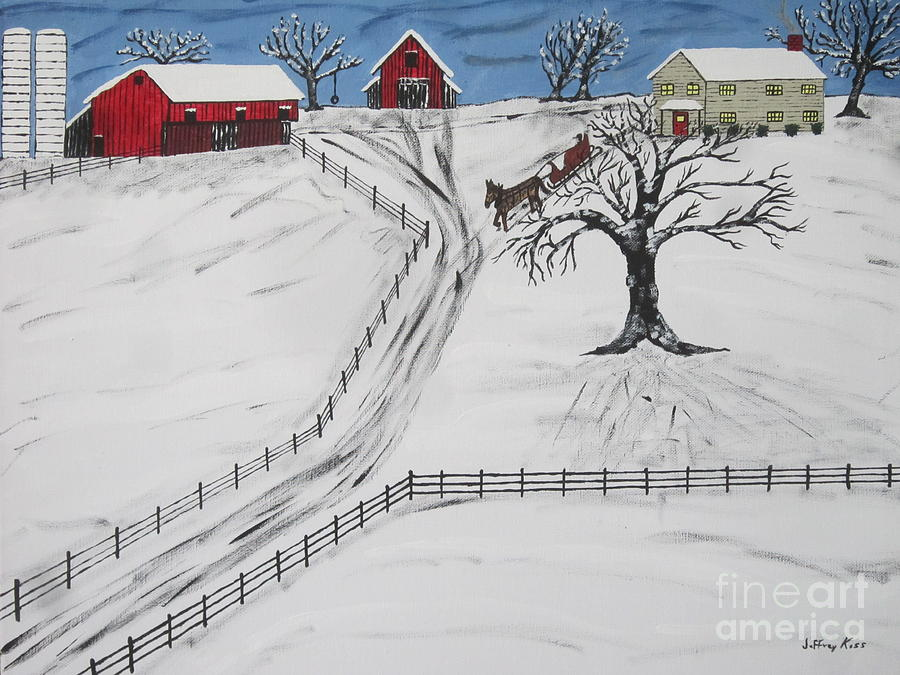 Pennsylvania Sleigh Ride Painting  - Pennsylvania Sleigh Ride Fine Art Print