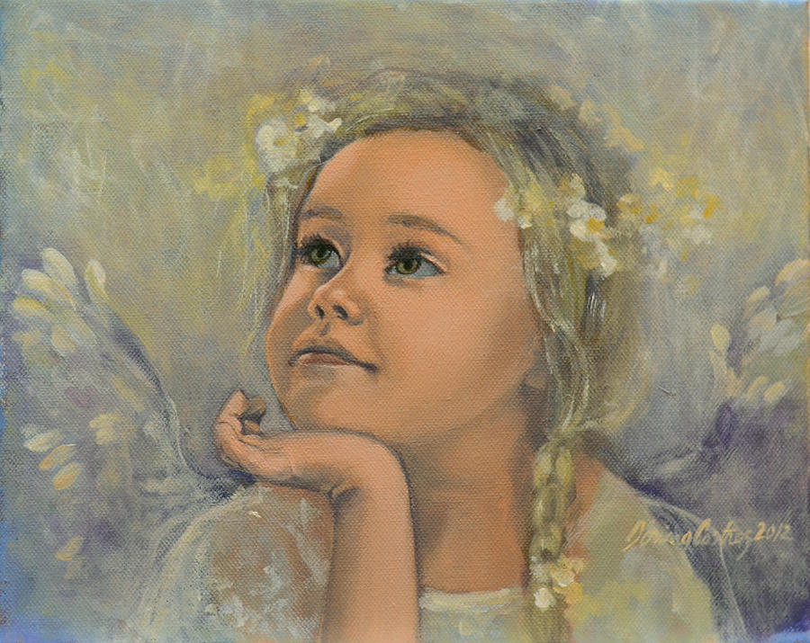 Pensive - Angel 22 Painting  - Pensive - Angel 22 Fine Art Print
