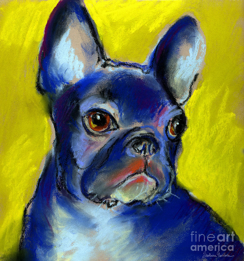 Pensive French Bulldog Portrait Painting  - Pensive French Bulldog Portrait Fine Art Print