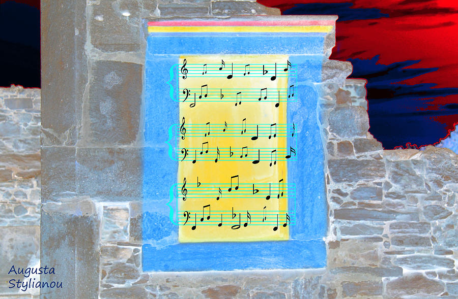 Art Photograph - Pentagram Window At Apollo Sactuary by Augusta Stylianou