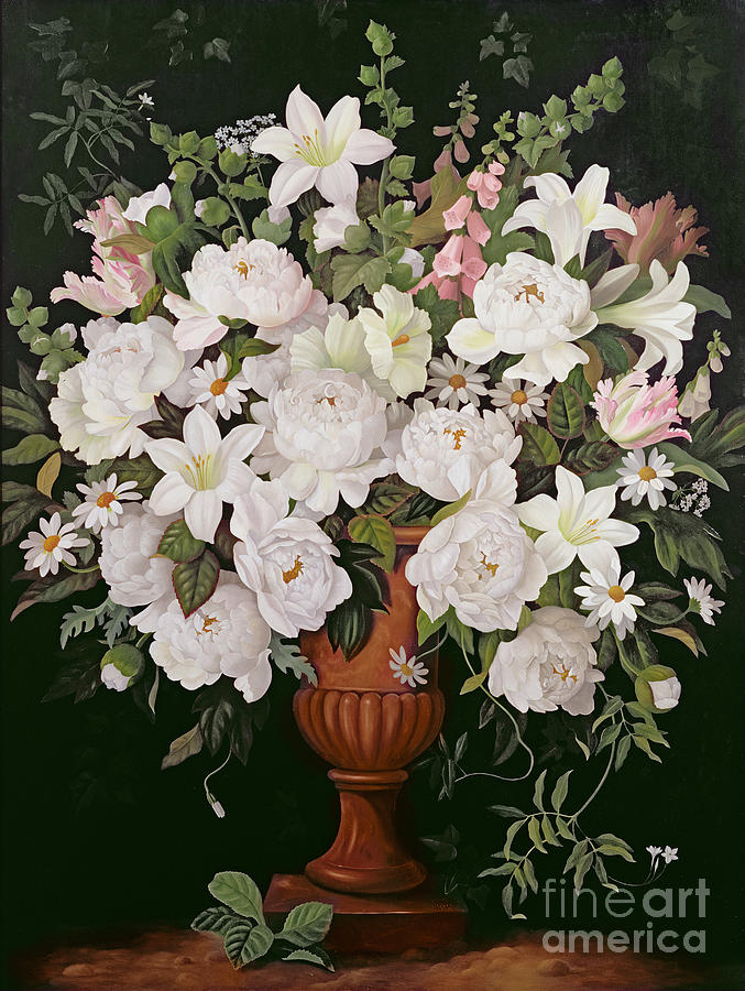 Peonies And Wisteria Painting