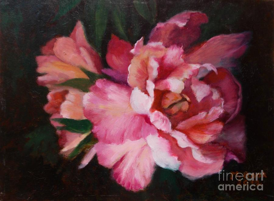 Peonies No 8 The Painting Painting  - Peonies No 8 The Painting Fine Art Print