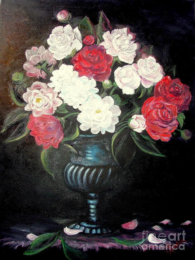 Peonies Painting - Peonies by Sorin Apostolescu
