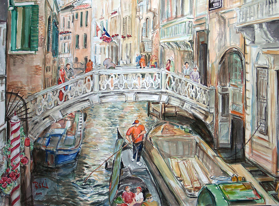 Italy Painting - People In Venice by Becky Kim