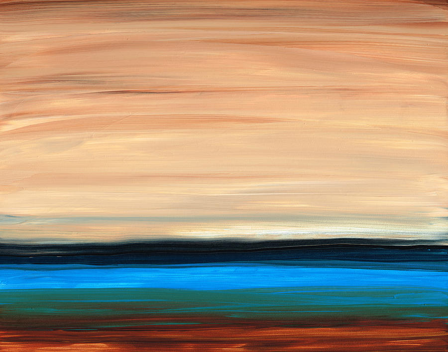 Perfect Calm - Abstract Earth Tone Landscape Blue Painting