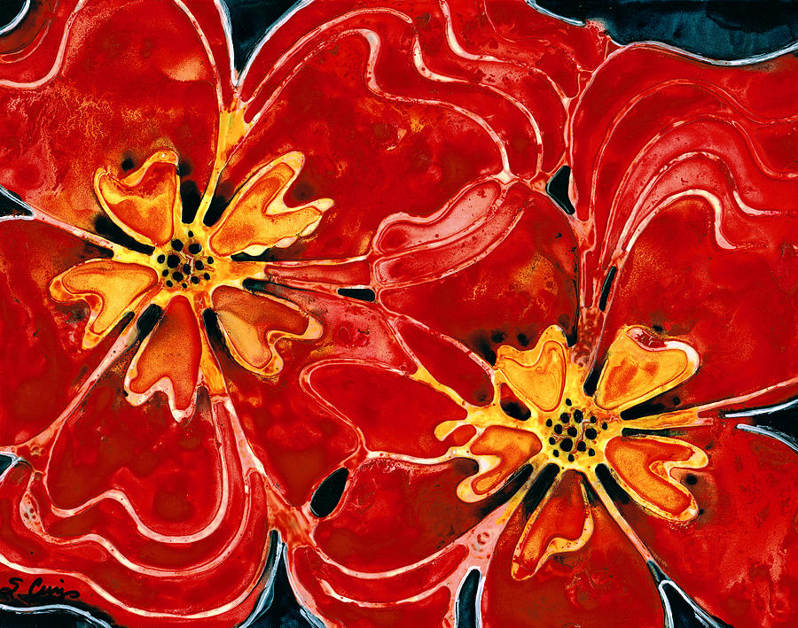 Perfect Union Red Flowers Painting  - Perfect Union Red Flowers Fine Art Print