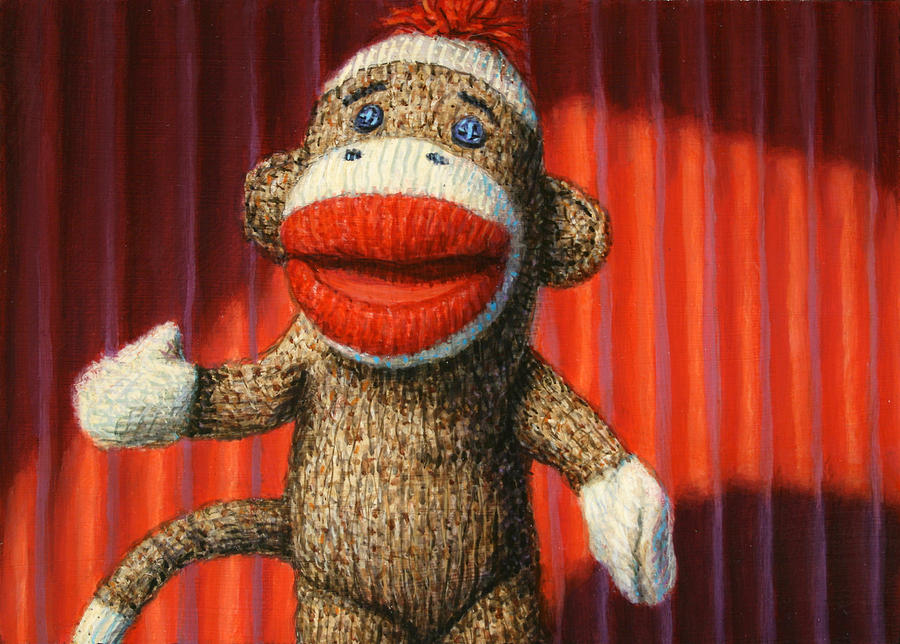 Performing Sock Monkey Painting  - Performing Sock Monkey Fine Art Print