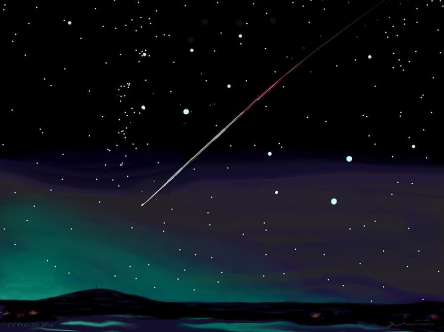 Perseid Meteor Shower  Painting by Jean Pacheco Ravinski