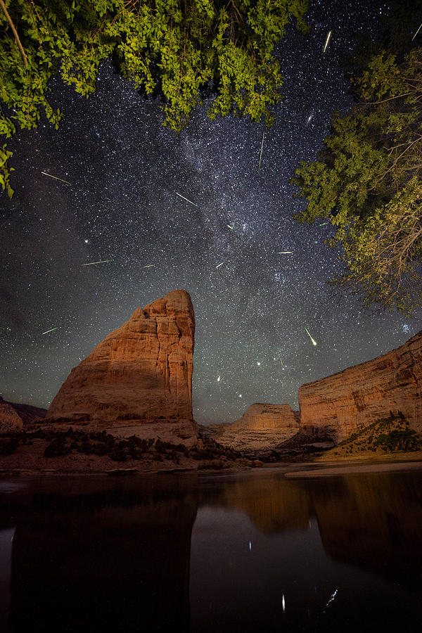 Perseids Meteor Shower Over Steamboat Rock Photograph