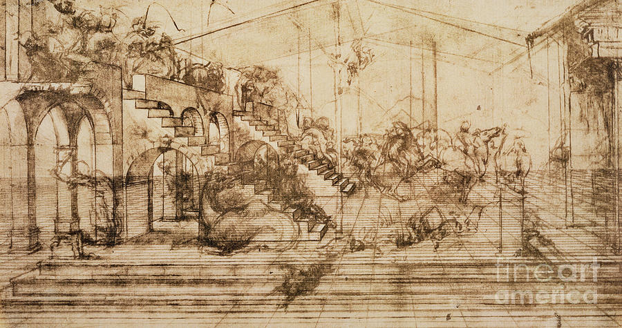 Perspective Study For The Background Of The Adoration Of The Magi Drawing