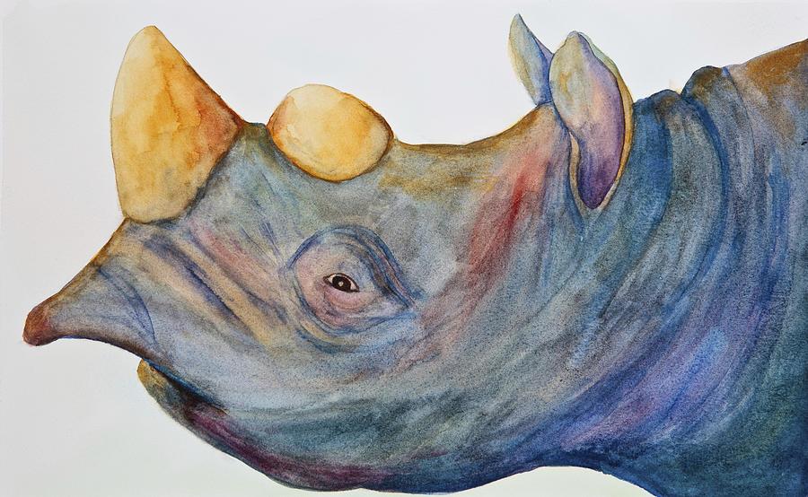 Rhino Painting - Pete by Kerrie  Hubbard