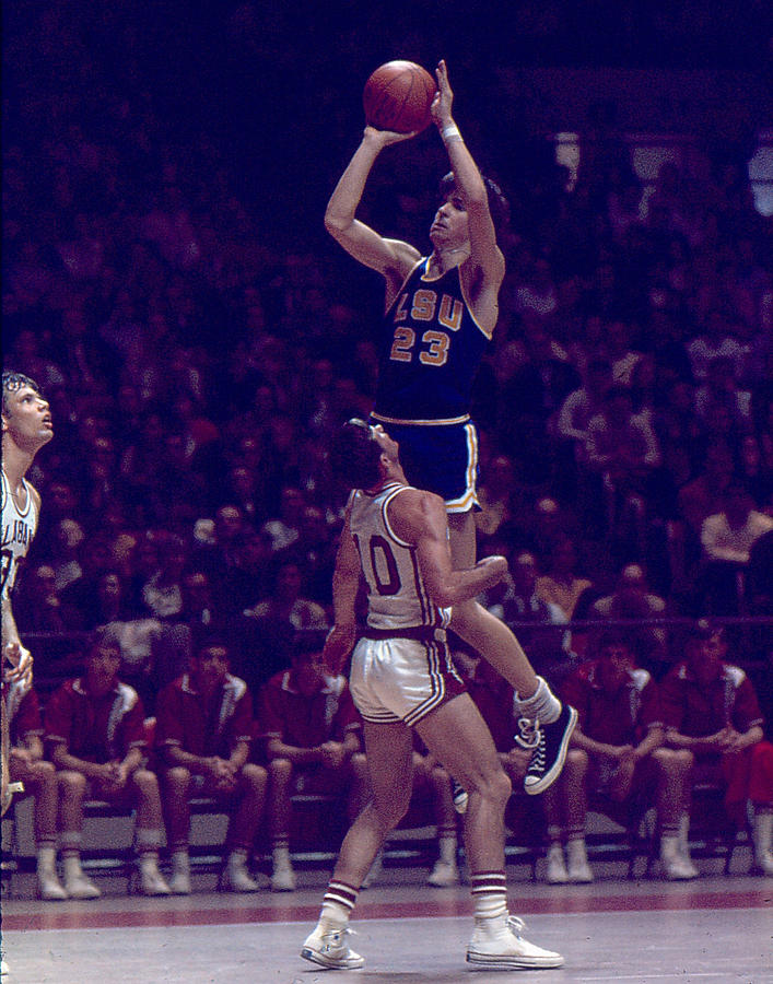 Classic Photograph - Pete Maravich Leaning Jumper by Retro Images Archive