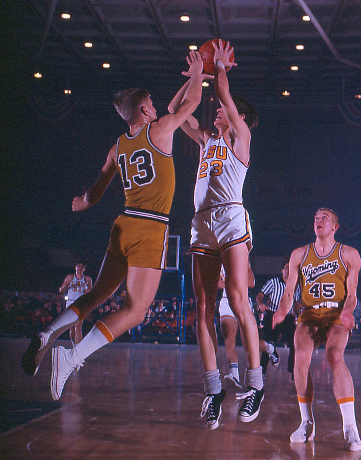 Pete Maravich Shooting Over Player Photograph