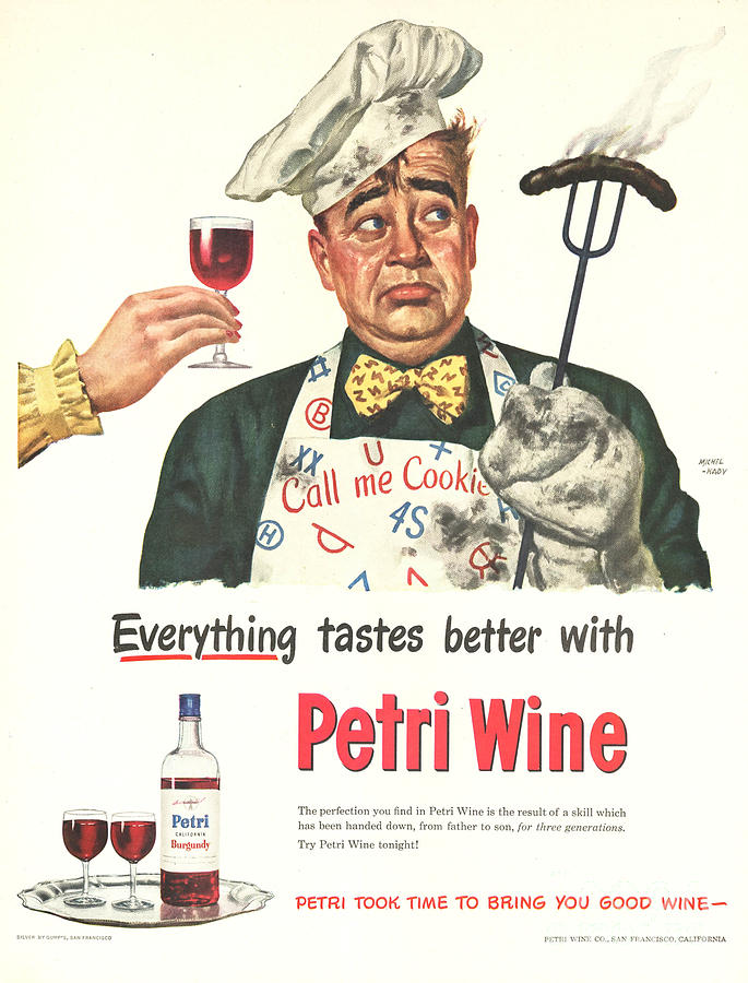 Petri Wine 1940s Usa Cooking  Bbq Drawing