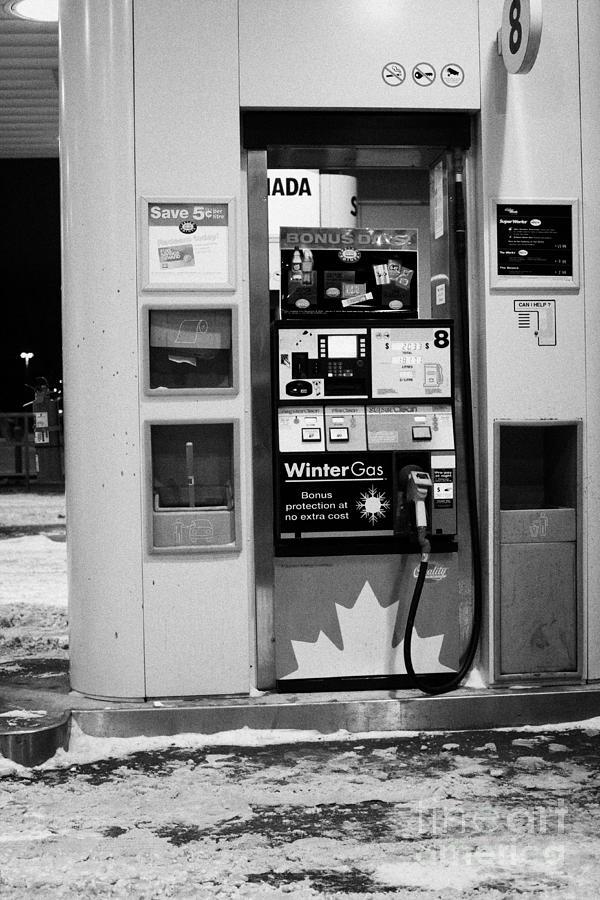 petro canada winter gas fuel pump at service station Regina Saskatchewan Canada Photograph
