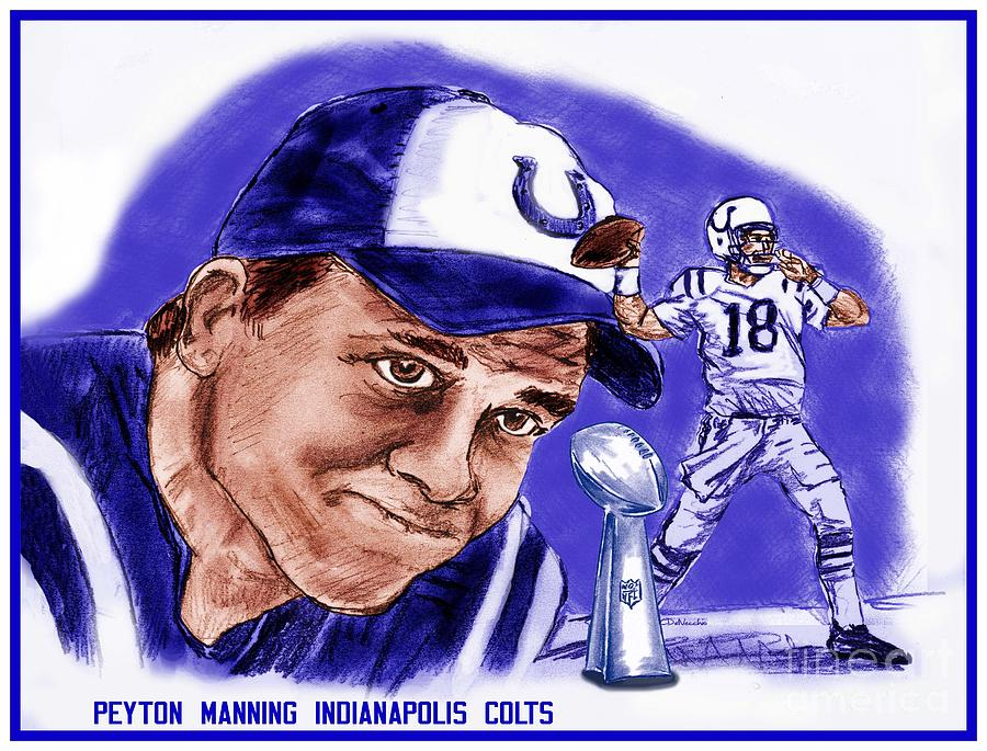 Nfl Drawing - Peyton Manning by Chris  DelVecchio