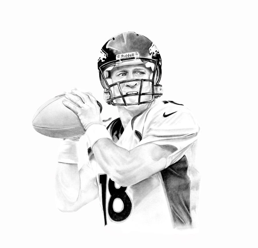 Manning Drawing - Peyton Manning by Don Medina