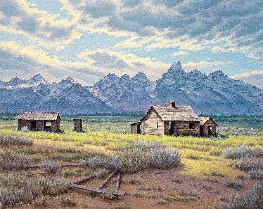 Landscape Painting - Pfeiffer Homestead-tetons by Paul Krapf