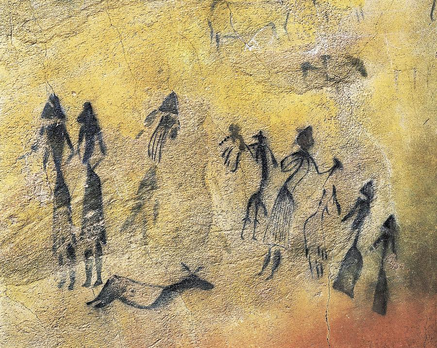 Phallic Dance. Mesolithic Art. Cave Photograph