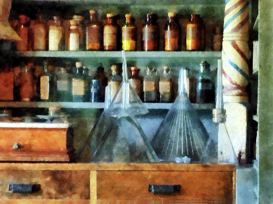 Medicine Photograph - Pharmacist - Glass Funnels And Barber Pole by Susan Savad