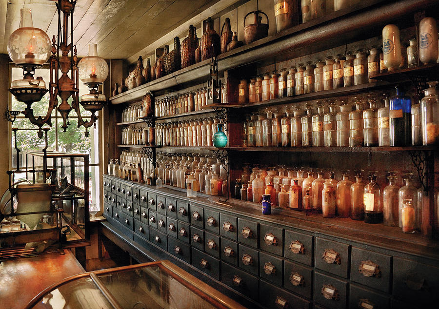 Pharmacy - So Many Drawers And Bottles Photograph  - Pharmacy - So Many Drawers And Bottles Fine Art Print