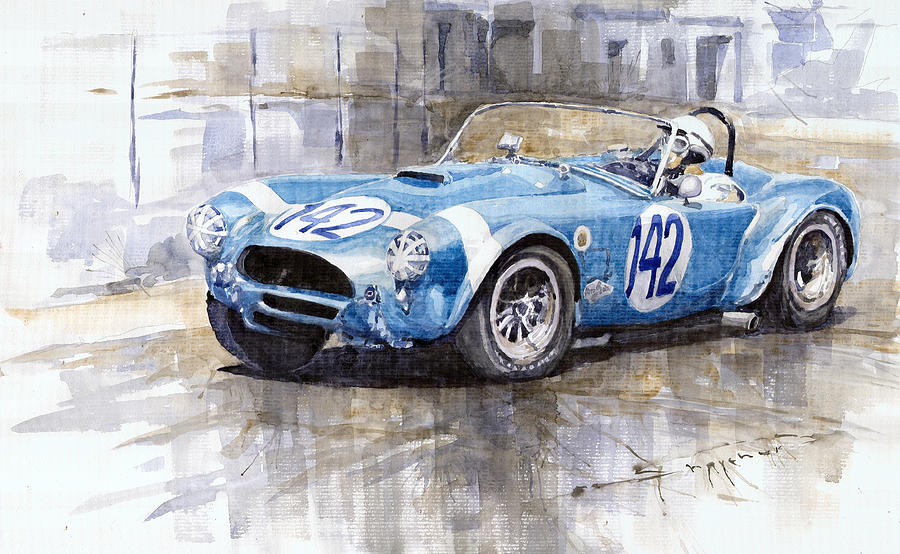 Phil Hill Ac Cobra-ford Targa Florio 1964 Painting  - Phil Hill Ac Cobra-ford Targa Florio 1964 Fine Art Print