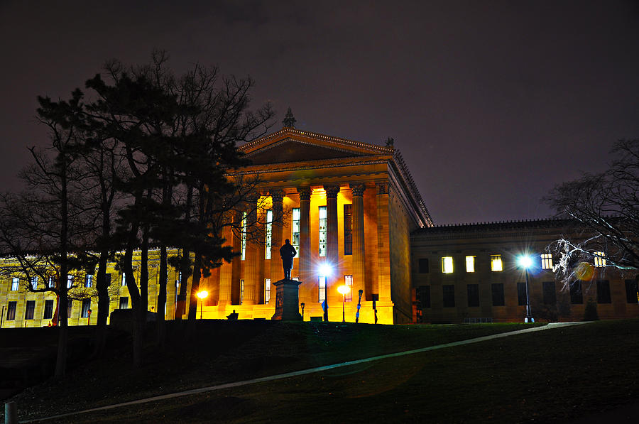 Philadelphia Art Museum  At Night From The Rear Photograph  - Philadelphia Art Museum  At Night From The Rear Fine Art Print