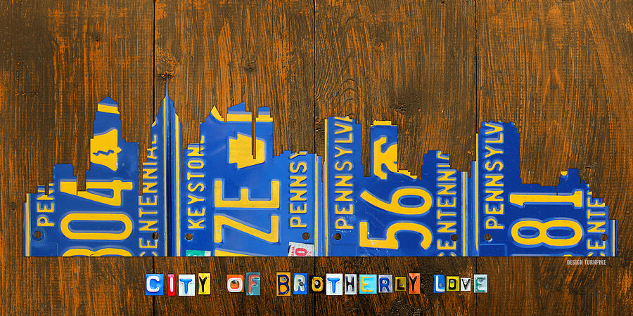 Philadelphia Pennsylvania City Of Brotherly Love Skyline License Plate Art Mixed Media