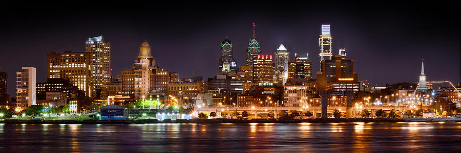 Philadelphia Philly Skyline At Night From East Color Photograph