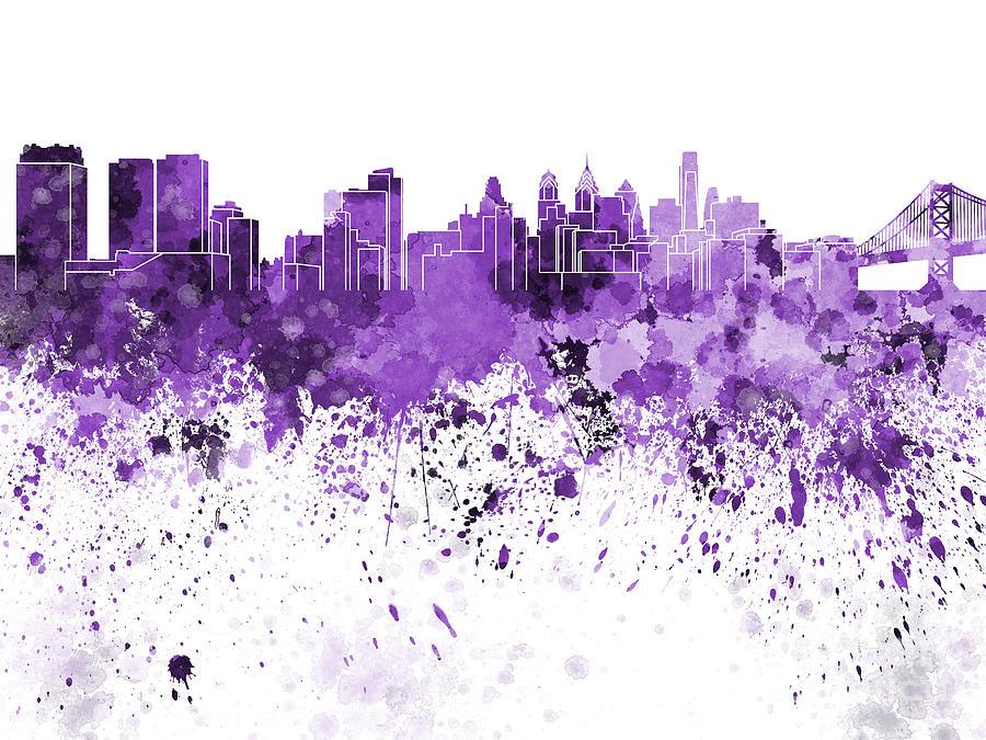 Philadelphia Skyline In Purple Watercolor On White