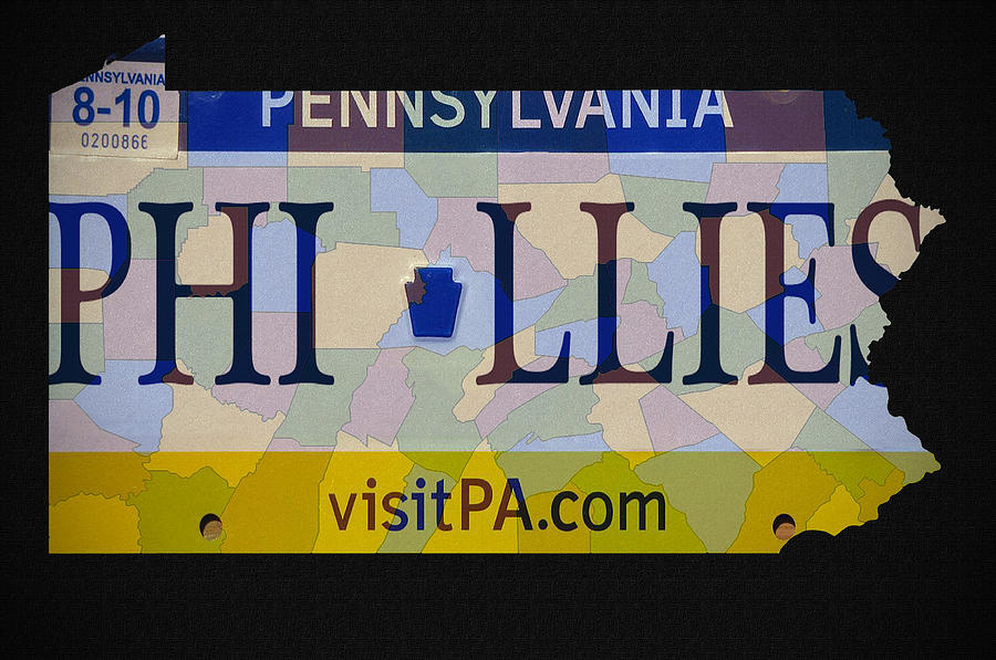Phillies License Plate Map Photograph