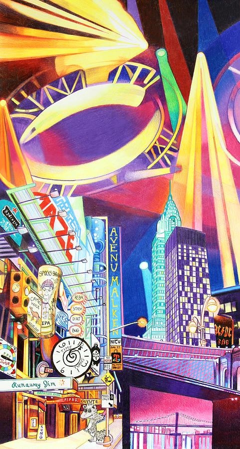 Phish Drawing - Phish New Years In New York Left Panel by Joshua Morton
