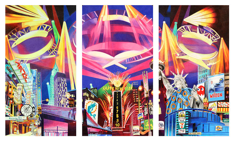 Phish New York For New Years Triptych Drawing  - Phish New York For New Years Triptych Fine Art Print
