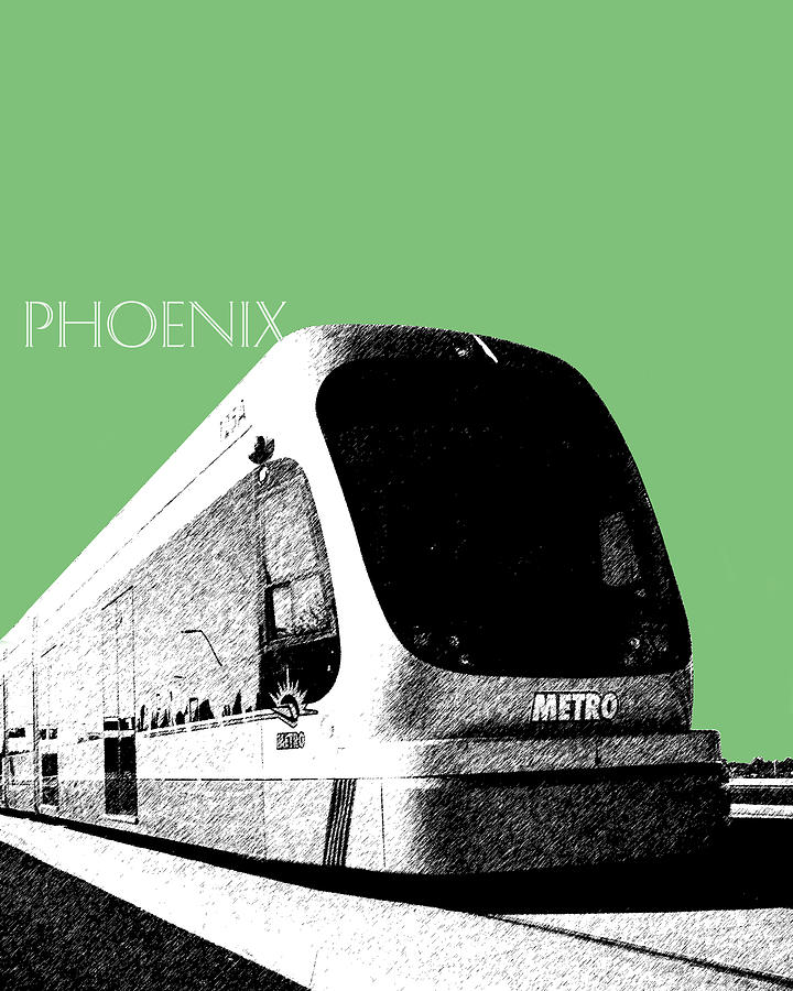 Phoenix Light Rail Digital Art  - Phoenix Light Rail Fine Art Print