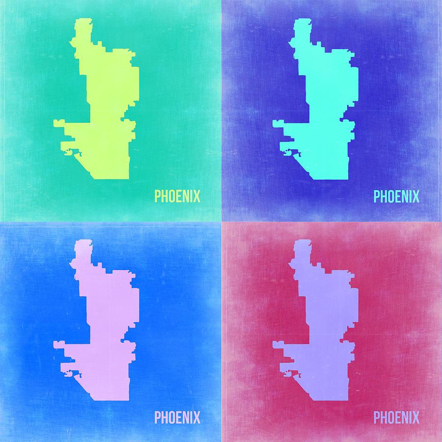 Phoenix Map Painting - Phoenix Pop Art Map 1 by Naxart Studio
