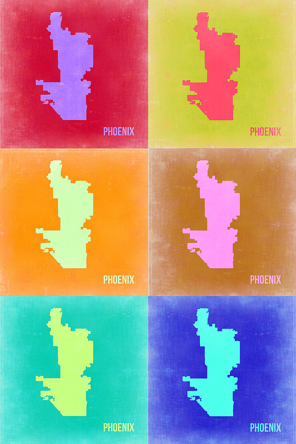 Phoenix Map Painting - Phoenix Pop Art Map 3 by Naxart Studio