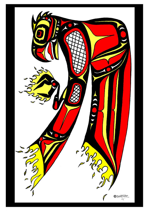 Phoenix Red And Yellow Drawing  - Phoenix Red And Yellow Fine Art Print