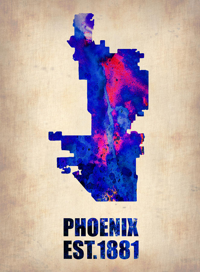 Phoenix Watercolor Map Painting  - Phoenix Watercolor Map Fine Art Print