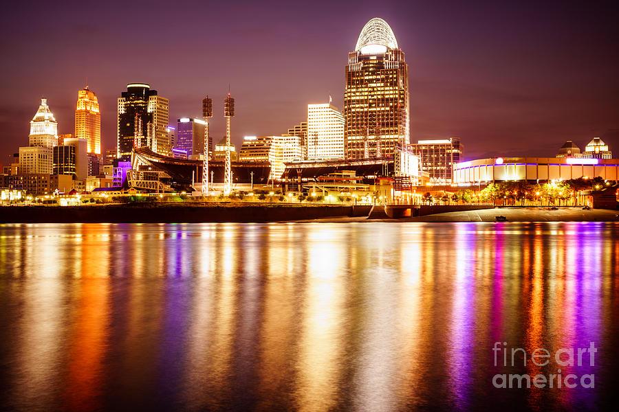 Photo Of Cincinnati Skyline At Night Photograph