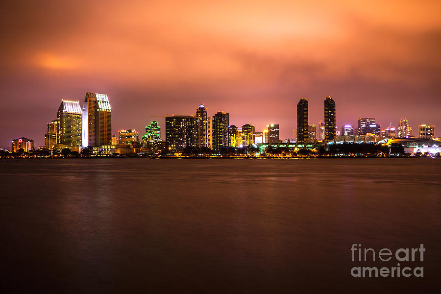 Photo Of San Diego At Night Photograph  - Photo Of San Diego At Night Fine Art Print