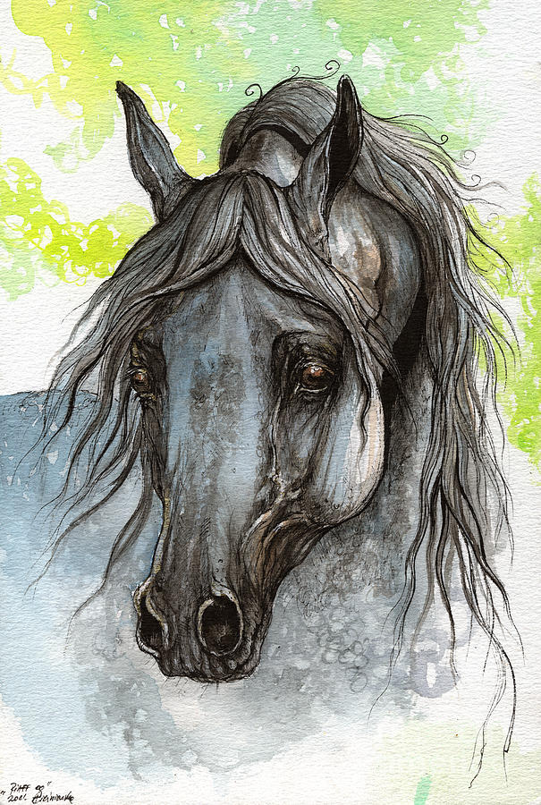 Piaff Polish Arabian Horse Watercolor  Painting 1 Painting  - Piaff Polish Arabian Horse Watercolor  Painting 1 Fine Art Print