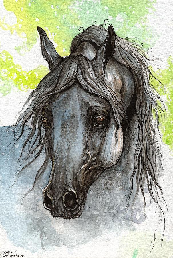 Painting - Piaff Polish Arabian Horse Watercolor  Painting 1 by Angel  Tarantella